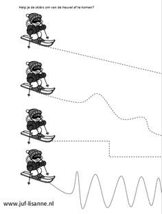 www.juf-lisanne.nl Motoriek oefening skiërs. Preschool Worksheets, Kindergarten Activities, Preschool Crafts, Crafts For Kids, English Games, Winter Games, Games For Kids, Sports, Seasons