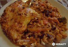 Zöldséges rakott tészta gazdagon My Recipes, Bacon, Rice, Chicken, Meat, Food, Eten, Meals, Cubs