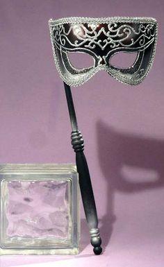 Mardi Gras Mask! Masquerade Ball Black & Silver Venetian Opera Mask w Stick #FM #OperaMask #Masquerade