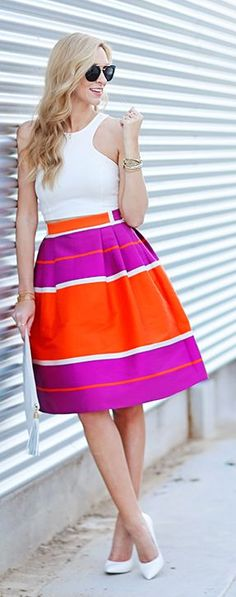Striped Midi Skirt Summer Style - looks cute but maybe too bright for the office