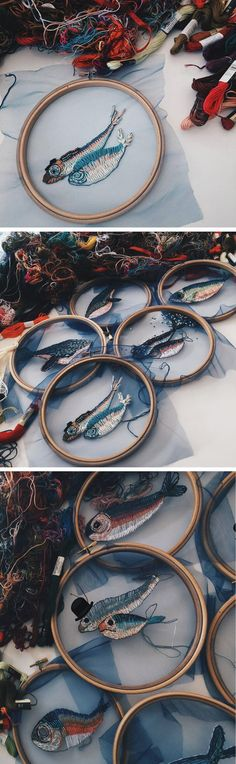 Fish embroidery on tulle, turns an embroidery hoop into a fish bowl / net. Would work well with other underwater scenes ... a window on the ocean