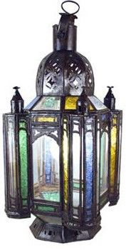 Moroccan lantern multicolor stained glass with clear glass. Hand-crafted in Morocco. [$169.00]