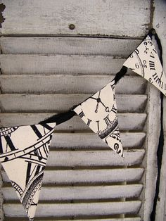 Handmade Fabric Banner Black and White Clock by QueenBe