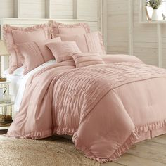 Urban Habitat Brooklyn Full/Queen Cotton Jacquard Duvet Cover Set in Pink - Olliix Urban Habitat Brooklyn 7 Piece Duvet Cover set creates a charming space. Featuring small cotton tufts, the duvet cover and matching shams add texture to this s Cotton Bedding Sets, Cotton Duvet, Duvet Sets, Duvet Cover Sets, King Cotton, Ivory Duvet Cover, Pink Bedding Set, Cotton Fabric, Bed Sets