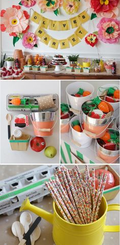 Farmers Market Party - sweet idea for a party ... love those vintage floral straws (available at CreativeBag.com)