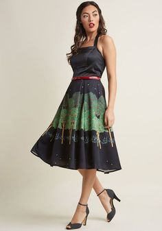 Collectif Evening Orchard Fit and Flare Dress in XL - Spaghetti Fit & Flare Midi by Collectif from ModCloth