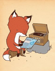Record Player Art Print - aka how to capture hipsters in a single image