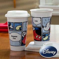 Personalized Disney Travel Tumbler - Mickey Mouse by PersonalizationMall.com. $29.95. You will be sharing your morning coffee with Mickey while helping the environment at the same time when you personalize our Mickey Mouse Comic Strip® Personalized Reusable Travel Tumbler!The exclusive design features a comic book script layout of Mickey Mouse complete with 2 speech bubbles that we will custom print with any 2 lines of personalization you choose.Our reusable ...