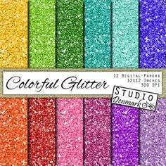 Colorful Glitter Digital Paper Bright Colors by StudioDenmark