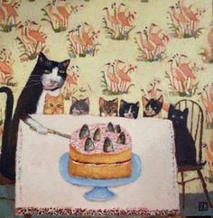 Vanessa Cooper- artist - cute mama cat with her kittens! Mama Cat, Here Kitty Kitty, Naive Art, Cat Drawing, Illustrations, Animal Paintings, Contemporary Paintings, Crazy Cats, Cat Art