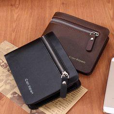 Fashion 2015 Men Wallets Famous Brand Genuine Leather Mens Wallet Male Money Purse With Zipper Wallets New Design Men Wallet
