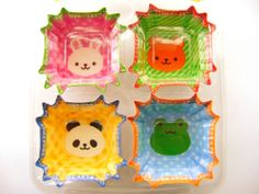Cute Food Cups Bento Lunch Box Accessory Cute Animals 4 Patterns