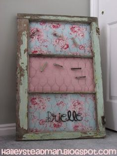 Old window, chicken wire, clothes pins and fabric make a memo board, SO cute