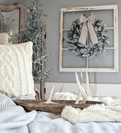 Winter bedroom decor. Farmhouse style bedroom by @blessed_ranch