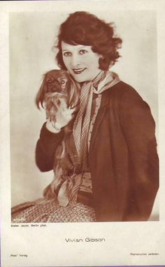Vivian Gibson publicity photo featuring the star and her pekingese I Love Dogs, Puppy Love, Tiny Monkey, Pekingese Puppies, Fu Dog, Japanese Chin, Old Pictures, Shih Tzu, Mans Best Friend