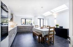 Palmers Green, N13, London, Side Return Extension, Kitchen Extension, Ground Floor Flat Extension, French Doors, Kitchen, Rear Extension, Roof-lights, Pitched Roof, Side Return Ideas, Kitchen Extension Ideas, Dining Area Ideas, Living Area Ideas, Open Plan Living, Living Room Floor, Tile Flooring
