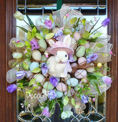 Cute BUNNY Easter Wreath with PASTEL EGGS and Accents by decoglitz