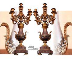 Paire de candélabres anciens en bronze doré et marbre griott