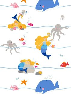 "Grafica di Irene Guerrieri: ""Lady under the sea"" #pattern #thecolorsoup #colors #textile #design #style #texture #abstract #TCSkids #kids"