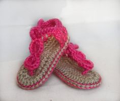 Super cute beach wear made to order :)    These crocheted sandals are made with Simply Soft yarn, so they are very soft and comfy for baby!
