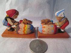Vintage Erzgebirge Wood Hand Carved Boy Girl w Painted Easter Eggs Bunnies | eBay.  Pinned by www.mygrowingtraditions.com
