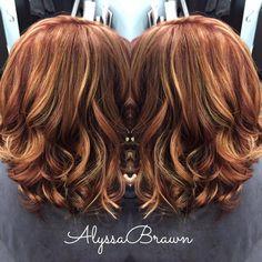 long bob, short hair, red hair, caramel, blonde highlights, auburn hair, red brown hair, curls, beachy hair, summer hair, #cuttingloosect 2016