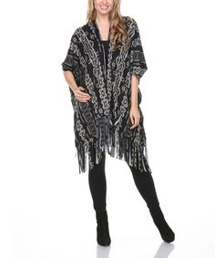 Look what I found on #zulily! Black & White Tribal & Fringe Cardigan #zulilyfinds