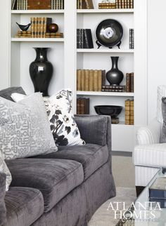 Pattern And Texture Give A Neutral Sofa Spark, While A Built In Bookcase  Filled