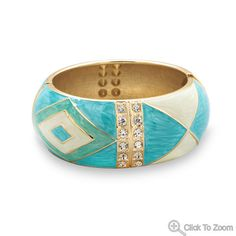 Pearlescent Turquoise Enamel Diamond Pattern Fashion Bangle Bracelet