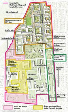 Grafik Bebauungsplanentwurf Mark Twain Village und Campbell Barracks (Kartographie Peh & Schefczik / teleinternetcafé/TH Treibhaus)