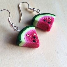 Hey, I found this really awesome Etsy listing at https://www.etsy.com/listing/202273092/polymer-clay-watermelon-slice-earrings