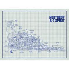 Inked and Screened Aviation Cutaways 'Northrop B 2 Spirit' Silk Screen Print Graphic Art in White Grid/Blue Ink