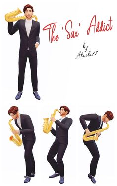 The Sax Addict: a mini pack needed a saxophone for poses and I tried my hand at converting this one from the sims And since I already made it, I also made some poses to go with it and. Sims 4 Mods, Sims 2, Saxophone, Swatch, Addiction, Teen, Poses, Mini, Challenges