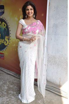 Shilpa Shetty White Net with Pink Work Replica Saree Fabric - Net Color - White  http://valehri.com/bollywood-sarees/552-shilpa-shetty-white-net-with-pink-work-replica-saree.html
