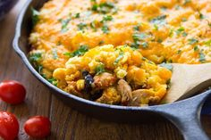 Cheesy Chicken Enchilada Bake has 25 grams of protein per serving! Kids and adults love this one-pot meal recipe. #kidfriendly #recipes #onepotmeal