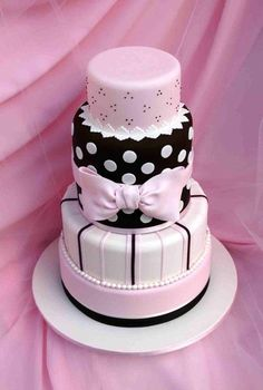 Beautiful    It's a 10 inch, 9 inch, two seven inch for the central chocolate covered tier and a 5 inch on top.  All fondant, including the bow, dots and pearls.