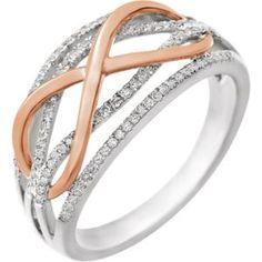 652038 / 14kt White/Rose / 1/4 CTW Diamond Infinity Ring #infinity #diamonds #ValentinesDay Locate a Jeweler Here: http://www.stuller.com/locateajeweler/