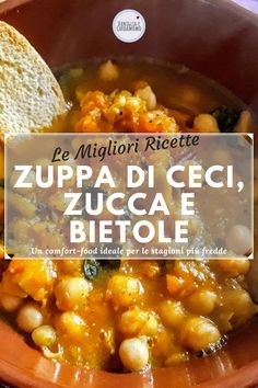 Ingredients for of drained cooked chickpeas diced delica pumpkin of chard cut thinly thinly sliced golden onion 2 bay leaves 2 spoons of extra virgin olive oil of vegetable broth 120 g of croutons Bay Leaves, Chana Masala, Fett, Onion, Good Food, Soup, Pumpkin, Chickpeas, Vegetables