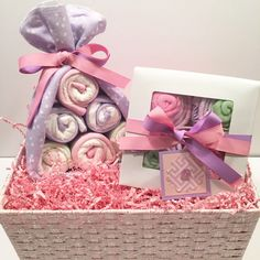 Baby Shower Gift, Baby Girl Gift Basket, Diaper Cake Stork Bundle, Receiving Blanket Cupcakes | New Baby Gift by PoshPresentations on Etsy https://www.etsy.com/listing/255587117/baby-shower-gift-baby-girl-gift-basket