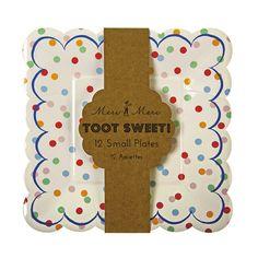 8 Toot Dulce blanco y naranja pequeña placa de Papel a Rayas Para Niños Fiesta De Cumpleaños