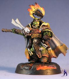Warhammer 40k Space Marines, Forgefather Vulkan He'Stan of the Salamanders. Nice paint job on this one!