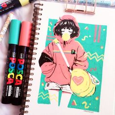 Crisalys is a Chilean artist interested in Illustration art. She describes herself as a Sneaker fan. She often emphasizes sneakers in her drawings. Marker Kunst, Marker Art, Pen Art, Kunstjournal Inspiration, Sketchbook Inspiration, Posca Art, Arte Sketchbook, Cute Art Styles, Little Doodles