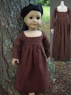 1800 Brown Dot Regency Dress Replica for American Girl Dolls - by Morgan May @ Stardust Dolls - http://www.stardustdolls.com