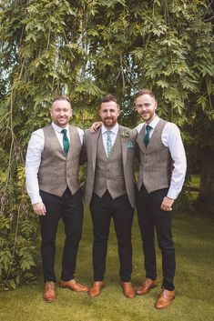 Barn Wedding in Shropshire Rustic Greenery & Sparkle Groom Suit Tweed Waistcoat Tie Groomsmen Barn Wedding Shropshire Brightwing Photography Groom Attire Rustic, Rustic Groomsmen Attire, Groomsmen Outfits, Groom Outfit, Rustic Wedding Groomsmen, Fall Groom Attire, Groom Suits, Groom Style, Marie