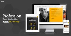 Profession - CV Resume HTML Template ...  Pixflow, audio, curriculum vitae, cv, one page, onepage, online vcard, personal, portfolio, profession, quote, resume, single page, vcard, video