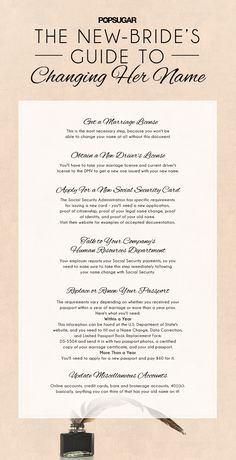Wedding Planning New-Bride's Guide to Changing Her Name - Updating your email address to reflect your new married name is the easiest step of all, but unfortunately the laundry list of other changes is much Before Wedding, Post Wedding, Wedding Tips, Wedding Planning, Dream Wedding, Wedding Day, Wedding Stuff, Wedding 2017, Wedding Dreams