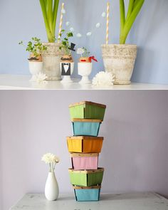 love the painted berry baskets