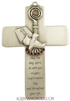 """5"""" Pewter Confirmation Message Cross With Red Stones. Catholic ConfirmationCatholic GiftsHoly ..."""
