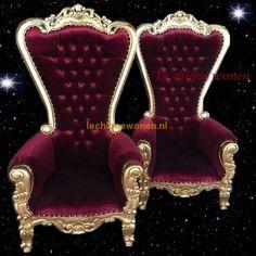 Barok King Chair Sahara Arabica Gold Red | Le Chique Wonen