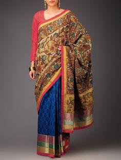 Blue Ecru Red Golden Buti Kalamkari Mangalagiri Cotton Saree Zari Sarees Printed Narratives Concept and Blouses in Craft Online at Jaypore.com